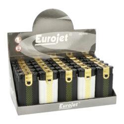 Zapalovač Eurojet Duoflame B&W-Plynový zapalovač Eurojet Duoflame B&W s kombinací normálního a turbo plamene. Zapalovač je plnitelný. Výška zapalovače 6,5cm. Prodej pouze po celém balení (displej) 25 ks.