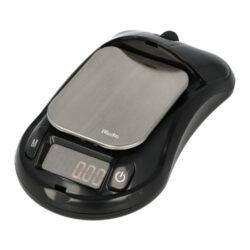 Digitální váha kapesní Woodoo Mouse 0,01-100g-Kapesní váha Woodoo Mouse. Malá digitální váha v designu počítačové myši s červeně podsvíceným displejem je vhodná nejen k vážení tabáku při výrobě vlastních cigaret, ale i k dalšímu přesnému dávkování jiných věcí. Na váze je možné vážit od 0,01g až do 100g. Praktická digitální váha je vybavena šesti vážícími módy(různé jednotky), kalibrací a auto vypnutím. Kapesní váha je napájena dvěma bateriemi AAA 1,5V, které jsou součástí balení. Rozměr plochy pro vážení: 4 x 5cm. Celkový rozměr váhy: 5,9 x 10,5 x 3,5cm.