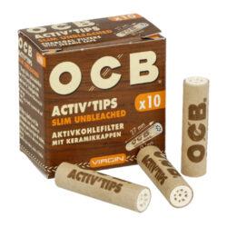 Cigaretové filtry OCB Virgin Activ Tips Slim 7mm, charcoal-Cigaretové filtry OCB Virgin Activ Tips Slim z neběleného papíru s aktivním uhlím a keramickým oboustranným zakončením. Filtry snižují množství přijímaného dehtu, neovlivňují chuť a dopřejí Vám suché a chladné kouření. Průměr filtru 7mm, délka 27mm. Cena uvedena za 1 balení (10 ks filtrů).