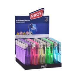 Zapalovač PROF Piezo Transparent Fix-Plynový zapalovač PROF Piezo Transparent Fix. Transparentní zapalovač v barevném provedení není plnitelný a je vybavený fixní intenzitou plamene. Prodej pouze po celém balení (displej) 50 ks. Výška zapalovače 8 cm.