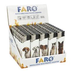 Zapalovač FARO Piezo Pets Dogs-Plynový zapalovač FARO Piezo Pets Dogs. Plnitelný zapalovač s nastavením intenzity plamene. Prodej pouze po celém balení (displej) 50 ks. Výška zapalovače 8,1cm.