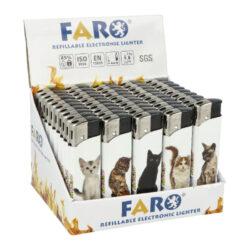 Zapalovač FARO Piezo Cats-Plynový zapalovač FARO Piezo Cats. Plnitelný zapalovač s nastavením intenzity plamene. Prodej pouze po celém balení (displej) 50 ks. Výška zapalovače 8,1cm.