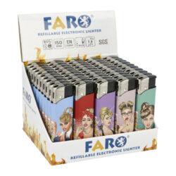 Zapalovač FARO Piezo Cartoon Ladies-Plynový zapalovač FARO Piezo Cartoon Ladies. Plnitelný zapalovač s nastavením intenzity plamene. Prodej pouze po celém balení (displej) 50 ks. Výška zapalovače 8,1cm.