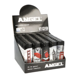 Zapalovač Angel Piezo Black and White, Red-Plynový zapalovač Angel Piezo Black and White, Red. Na spodní straně zapalovače najdeme plnicí ventil plynu, na boční straně nastavení intenzity plamene. Prodej pouze po celém balení (displej) 50 ks. Výška zapalovače 8,2cm.