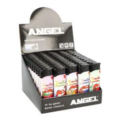 Zapalovač Angel Piezo Fashion-Plynový zapalovač Angel Piezo Fashion. Na spodní straně zapalovače najdeme plnicí ventil plynu, na boční straně nastavení intenzity plamene. Prodej pouze po celém balení (displej) 50 ks. Výška zapalovače 8,2cm.