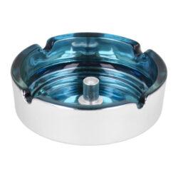 Cigaretový popelník skleněný 10cm modrý(11018.2)