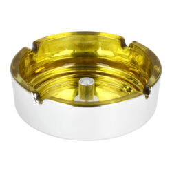 Cigaretový popelník skleněný 10cm žlutý(11018.4)