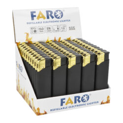 Zapalovač FARO Piezo Gold & Black Rubber-Plynový zapalovač FARO Piezo Gold & Black Rubber. Plnitelný zapalovač s nastavením intenzity plamene. Prodej pouze po celém balení (displej) 50 ks. Výška zapalovače 8,2cm.