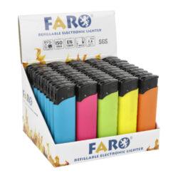Zapalovač FARO Piezo Neon Rubber-Plynový zapalovač FARO Piezo Neon Rubber. Plnitelný zapalovač s nastavením intenzity plamene. Prodej pouze po celém balení (displej) 50 ks. Výška zapalovače 8,2cm.