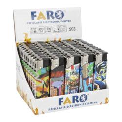 Zapalovač FARO Piezo Graffiti-Plynový zapalovač FARO Piezo Graffiti. Plnitelný zapalovač s nastavením intenzity plamene. Prodej pouze po celém balení (displej) 50 ks. Výška zapalovače 8,2cm.