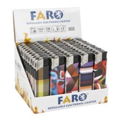 Zapalovač FARO Piezo Abstract-Plynový zapalovač FARO Piezo Abstract. Plnitelný zapalovač s nastavením intenzity plamene. Prodej pouze po celém balení (displej) 50 ks. Výška zapalovače 8,2cm.