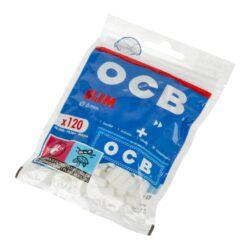 Cigaretové filtry OCB Slim + papírky OCB Blue-Cigaretové filtry OCB Slim + cigaretové papírky OCB Blue. Uzavíratelné praktické balení, které máte vždy při sobě obsahuje slim filtry do cigaret a krátké papírky se seříznutými rohy. Obsah sáčku: 120 ks OCB Slim filtrů, 1x knížečka(50ks) papírků OCB Blue. Cena je uvedena za jedno balení.   Průměr filtrů: 6 mm Délka filtrů 15 mm Rozměry papírků: 36x69 mm