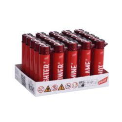 Zapalovač PROF Flint Round RED Messages-Plynový kamínkový zapalovač PROF Flint Round RED Messages. Zapalovač je vybavený nastavením intenzity plamene, ve spodní části najdeme plnící ventil plynu. Prodej pouze po celém balení (displej) 25 ks. Výška zapalovače 7cm.