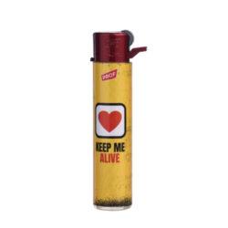 Zapalovač PROF Flint Round RED Warnings(009907)