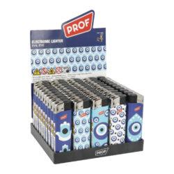 Zapalovač PROF Piezo Evil Eye-Plynový zapalovač PROF Piezo Evil Eye. Zapalovač vybavený fixním plamenem není plnitelný. Prodej pouze po celém balení (displej) 50 ks. Výška zapalovače 8 cm.