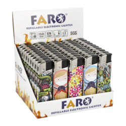 Zapalovač FARO Piezo Corona-Plynový zapalovač FARO Piezo Corona. Plnitelný zapalovač s nastavením intenzity plamene. Prodej pouze po celém balení (displej) 50 ks. Výška zapalovače 8,1cm.