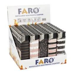 Zapalovač FARO Piezo Stripes-Plynový zapalovač FARO Piezo Stripes. Plnitelný zapalovač s nastavením intenzity plamene. Prodej pouze po celém balení (displej) 50 ks. Výška zapalovače 8,2cm.