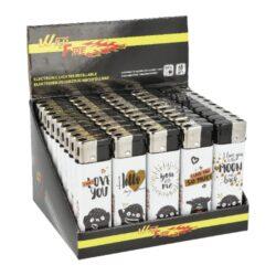 Zapalovač Wildfire Piezo Love Art-Plynový zapalovač Wildfire Piezo Love Art. Zapalovač vybavený nastavením intenzity plamene je plnitelný. Prodej pouze po celém balení (displej) 50 ks. Výška zapalovače 8 cm.