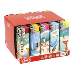 Zapalovač CIAO Piezo Summer-Plynový zapalovač CIAO Piezo Summer. Plnitelný zapalovač je vybavený nastavením intenzity plamene. Prodej pouze po celém balení (displej) 50 ks. Výška zapalovače 8 cm.