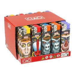 Zapalovač CIAO Piezo Monkey-Plynový zapalovač CIAO Piezo Monkey. Plnitelný zapalovač je vybavený nastavením intenzity plamene. Prodej pouze po celém balení (displej) 50 ks. Výška zapalovače 8 cm.