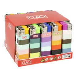 Zapalovač CIAO Piezo Stripes-Plynový zapalovač CIAO Piezo Stripes. Plnitelný zapalovač je vybavený nastavením intenzity plamene. Prodej pouze po celém balení (displej) 50 ks. Výška zapalovače 8 cm.
