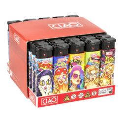 Zapalovač CIAO Turbo Babes-Žhavící zapalovač CIAO Turbo Babes. Turbo zapalovač s texturovaným povrchem je vybavený fixním plamenem a je plnitelný. Prodej pouze po celém balení (displej) 50 ks. Výška zapalovače 7,8 cm.