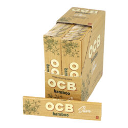 Cigaretové papírky OCB Slim Bamboo-Cigaretové papírky OCB Slim Bamboo. Dlouhé papírky jsou vyrobené ze zodpovědně pěstovaného 100% bambusu. Pomalu hořící cigaretové papírky Slim Bamboo s akátovým lepidlem nejsou bělené. Neobsahují GMO, barviva a chlór. Knížečka obsahuje 32 papírků. Rozměry papírku: 44x109mm. Prodej pouze po celém balení (displej) 50ks. Cena je uvedená za 1ks.