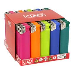 Zapalovač CIAO Piezo Colored-Plynový zapalovač CIAO Piezo Colored. Plnitelný zapalovač je vybavený nastavením intenzity plamene. Prodej pouze po celém balení (displej) 50 ks. Výška zapalovače 8 cm.