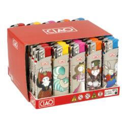 Zapalovač CIAO Piezo Animations-Plynový zapalovač CIAO Piezo Animations. Plnitelný zapalovač je vybavený nastavením intenzity plamene. Prodej pouze po celém balení (displej) 50 ks. Výška zapalovače 8 cm.