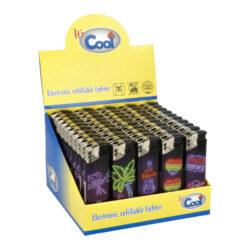 Zapalovač Cool Piezo Neons-Plynový zapalovač Cool Piezo Neons. Plnitelný zapalovač je vybavený nastavením intenzity plamene. Prodej pouze po celém balení (displej) 50 ks. Výška zapalovače 8 cm.