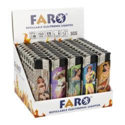 Zapalovač Faro Piezo Vintage-Plynový zapalovač FARO Piezo Vintage. Plnitelný zapalovač s nastavením intenzity plamene. Prodej pouze po celém balení (displej) 50 ks. Výška zapalovače 8,1cm.