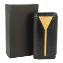 Pouzdro na 3 doutníky, kožené, černo/zlaté, 135mm(93006)