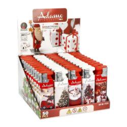 Adamo Turbo Xmas Time-Žhavící zapalovač Adamo Turbo Xmas Time s vánoční tématikou. Plynový zapalovač vybavený nastavením intenzity plamene je plnitelný. Prodej pouze po celém balení (displej) 50 ks. Výška zapalovače 8 cm.