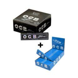Cigaretové papírky OCB Slim Premium + OCB Blue ZDARMA-Cigaretové papírky OCB Slim Premium, knížečka 32 papírků + ZDARMA cigaretové papírky OCB Blue, knížečka 50 papírků se seříznutými rohy.