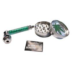 Drtič tabáku kovový, šlukovka-Kovový drtič tabáku dvojdílný, šlukovka a sítka do šlukovky v dárkové sadě.