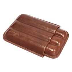 Pouzdro na 3 doutníky Etue, hnědé, kožené, 140mm-Pouzdro na tři doutníky (Etue). Pouzdro na doutníky je dlouhé 140mm, průměr 21mm. Doutníkové pouzdro je kožené.