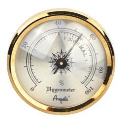 Vlhkoměr Angelo na suchý zip, 44mm-Standardní vlhkoměr do humidoru značky Angelo. Vlhkoměr je v humidoru uchycený na suchý zip a je vhodný do menších humidorů. Provedení: zlaté/lesklé.  Vnější průměr: 44 mm Vnitřní průměr: 38 mm