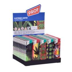 Zapalovač PROF Piezo Leaves-Plynový zapalovač PROF Piezo Leaves. Plnitelný zapalovač je vybavený nastavením intenzity plamene. Prodej pouze po celém balení (displej) 50 ks. Výška zapalovače 8 cm.