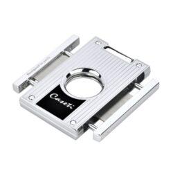 Doutníkový ořezávač Caseti, stříbrný-Ořezávač na doutníky Caseti. Doutníkový ořezávač je dodáván v dárkové krabičce.