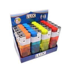 Zapalovač Lux Maxi Piezo Transparent + Light-Velký plynový zapalovač s LED světlem. Zapalovač je plnitelný. Prodej pouze po celém balení (displej) 20 ks. Rozměry: 11,5x3,8cm.