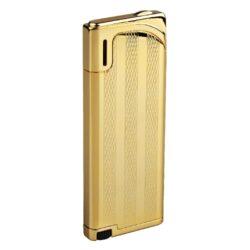 Zapalovač Hadson Slim, zlatý, proužky-Plynový slim zapalovač Hadson. Elegantní kovový zapalovač má povrch v lesklém zlatém provedení a jeho přední část je zdobená gravírováním. Zadní část zapalovače je hladká. Po stisknutí tlačítka se odklopí kryt a zapalovač se zapálí. Ve spodní části je umístěn plynový plnící ventil a regulace intenzity plamene. Slim zapalovač je dodávaný v dárkové krabičce. Výška zapalovače 7,5cm, tloušťka pouhých 8mm.