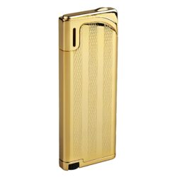 Zapalovač Hadson Slim, zlatý, proužky-Plynový zapalovač. Zapalovač je plnitelný.