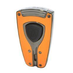 Tryskový zapalovač Lamborghini Forza, oranžový-Stylový tryskový zapalovač Tonino Lamborghini Forza. Kvalitně zpracovaný zapalovač obsahuje na spodní straně nastavení intenzity plamene a ventil pro plnění. Na přední straně najdeme okénko, kde je možné vidět hladinu plynu v zapalovači. Tryskový zapalovač je dodáván v kožené krabičce vyložené jemným sametem. Výška 7cm.