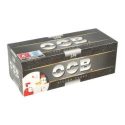 Cigaretové dutinky OCB 250-Cigaretové dutinky OCB 250 pro výrobu vlastních cigaret klasického rozměru King Size. Krabička 250 ks dutinek.  Délka dutinky včetně filtru: 8,2cm Průměr dutinky: 0,8cm
