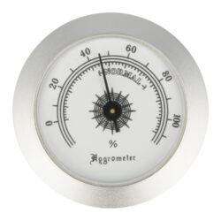 Vlhkoměr kulatý, 50mm-Standardní vlhkoměr Angelo do humidoru. Provedení chrom. Vnější průměr: 50 mm Vnitřní průměr: 47 mm