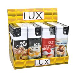 Zapalovač Lux Maxi Ice Cream-Plynový zapalovač. Zapalovač je plnitelný. Prodej pouze po celém balení (displej) 20 ks. Výška zapalovače 11,5cm.