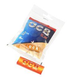 Cigaretové filtry OCB Slim + papírky OCB Orange-Cigaretové filtry OCB Slim + cigaretové papírky OCB Orange. Uzavíratelné praktické balení, které máte vždy při sobě obsahuje slim filtry do cigaret a krátké papírky. Obsah sáčku: 120 ks OCB Slim filtrů, 1x knížečka(50ks) papírků OCB Orange. Cena je uvedena za jedno balení (sáček).   Průměr filtrů: 6 mm Délka filtrů 15 mm Rozměry papírků: 36x69 mm