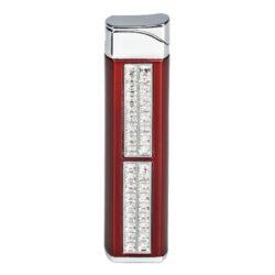Dámský zapalovač Hadson Quadrina, červený, bílé kamínky Swarovski-Dámský zapalovač Hadson. Kovový zapalovač v tmavě červeném lesklém provedení kombinovaný s chromem. Na přední straně je zapalovač zdobený kamínky Swarovski. Ve spodní části je umístěn plynový plnící ventil a regulace intenzity plamene. Zapalovač je dodávaný v dárkové krabičce. Výška zapalovače 7,5cm.