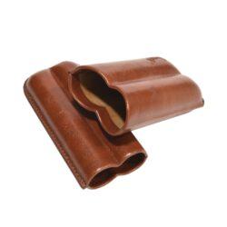 Pouzdro na 2 doutníky Etue, hnědé, koženka 120mm(81205)