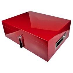 Humidor na doutníky Villa Spa červený 80D, stolní-Stolní humidor na doutníky s kapacitou cca 80 doutníků. Dodáván s plně automatickým elektronickým zvlhčovačem s vlhkoměrem Cigar SPA. Vnitřek humidoru je vyložený cedrovým dřevem. Rozměr: 43x32x15 cm.